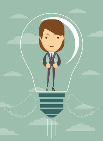 create idea: Businesswoman create idea. Illustration