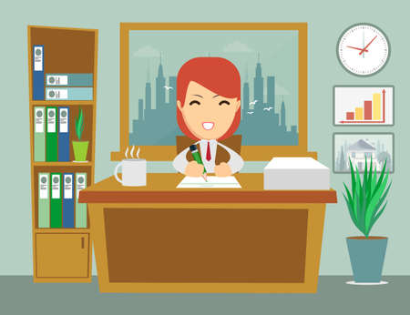 tiredness: office worker sitting at the table and work with joy, without tiredness