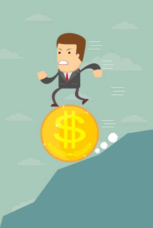 pessimistic: Business man running on a coin with the dollar symbol is pessimistic falling