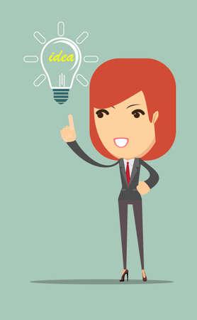 has: business woman showing she has an idea.