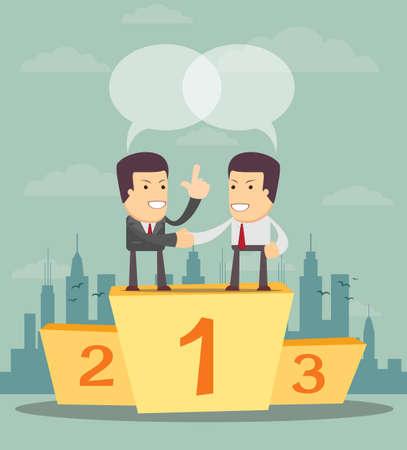 primer lugar: La gente de negocios en el podio en el primer lugar vienen a cooperar