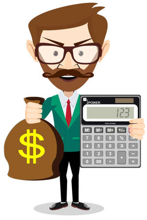 pile of money: flat illustration of a businessman with pile of money. Rich man counting wealth. Growth of fortune savings