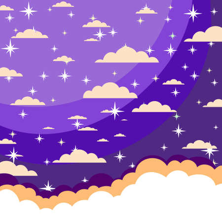 asterism: night sky with stars and clouds. Stock illustration