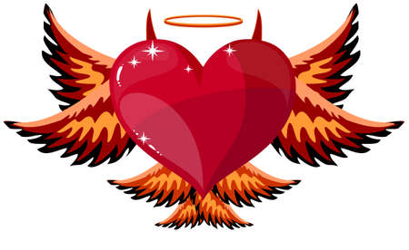devilish: Devilish Red Heart With Black Horns, Wings And Tail At Halloween, Illustration