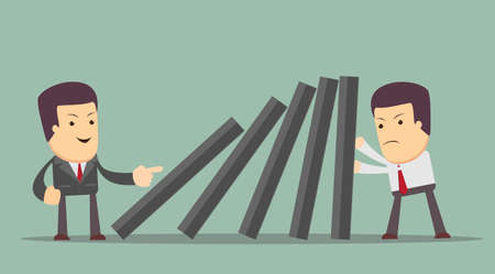 collapsing: Business man supports domino from falling, while another man started a domino effect Illustration