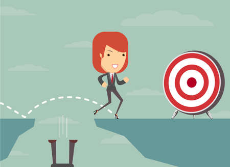 smart goals: Jump the gap and achieve his goal. Illustration