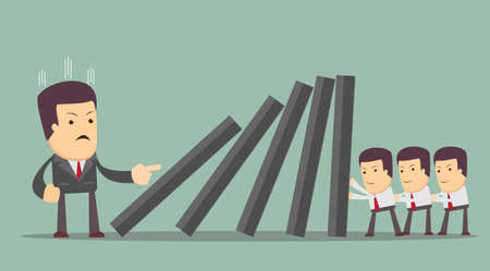 domino effect: Concept of teamwork and corporate profit . people resist difficulties in work. domino effect .