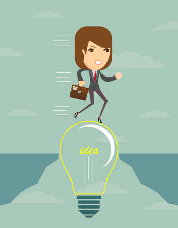 abyss: Businesswoman on a lightbulb cross an abyss - the idea of a businessman helped to bridge the gap. Vector illustration.