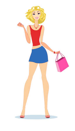 Beautiful blond woman with shopping bags. Stock vector illustration