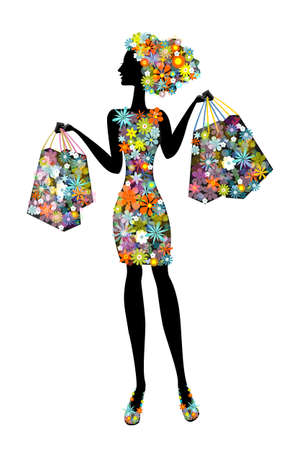 Vector illustration with silhouette cute young woman in flowers who goes shopping. Flower girl full of life .
