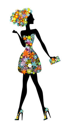 Vector illustration with silhouette cute young woman with perfume in flowers . Flower girl full of life .