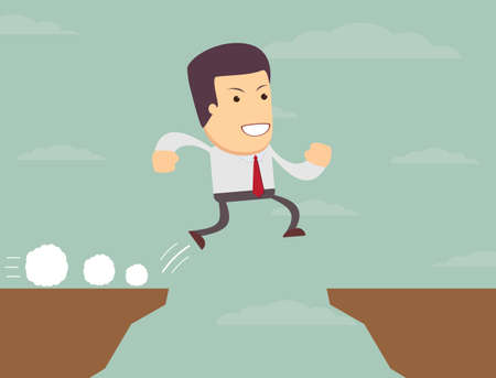 havoc: Businessman is jumping over the abyss. Stock vector illustration