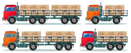 Los camiones de servicio de entrega con cuadros. ilustración