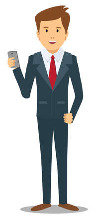 business man with gadget . Stock vector illustration Illustration