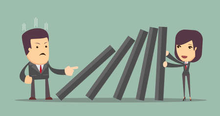 resilient: Business woman pushing hard against falling deck of domino tiles. Business Concept Illustration