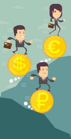 Der Währungsumtauschdollar, Euro, Rubelikone. Bargeld und Geld, Reichtum, Zahlungssymbol. Flache Vektor-Illustration