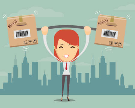 cartons: Delivery woman. Cartoon character with cartons box . Concept for online shop or e-shop. Vector flat illustration