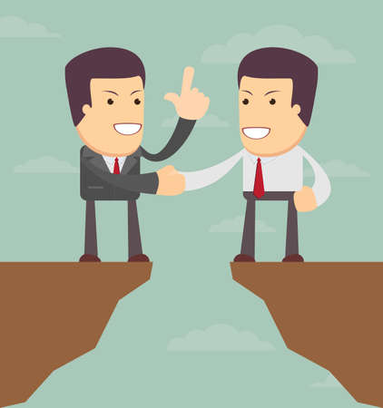 precipice: Agreement. Business  illustration. Men talk about business prospects. Illustration