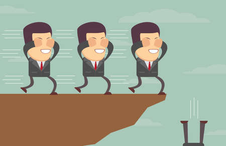 The blind leading . Blindfolded businessmen following each other to the cliff