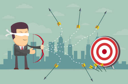 loser: Blindfold businessman - loser shooting arrow . Stock vector illustration Illustration