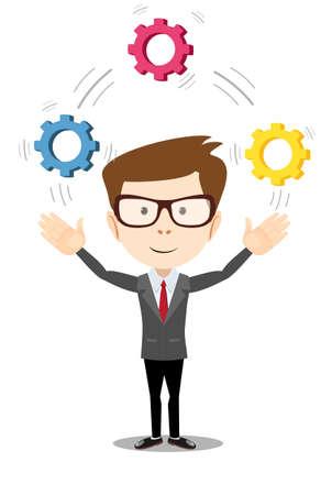 pensamiento estrategico: ilustración de un hombre de negocios de dibujos animados. malabarismo hombre con ruedas dentadas, que simboliza el pensamiento estratégico, la creatividad.