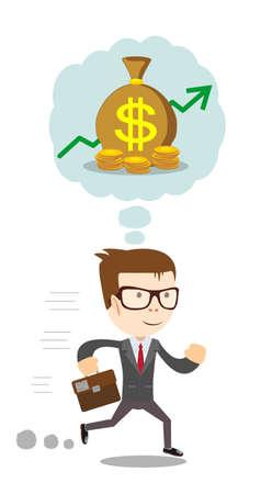 Running  about money.  flat illustration Illustration