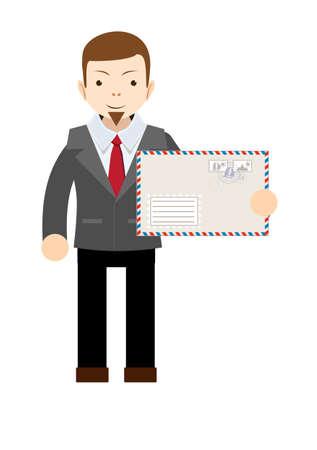 Handsome businessman in formal suit holding an envelope with a letter. Illustration