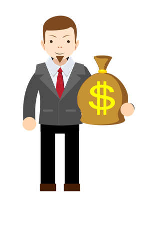 Businessman holding money bag. Stock vector illustration
