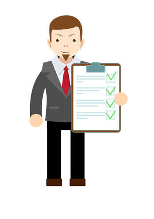 questionary: Vector stock of businessman holding business contract and agreement paper