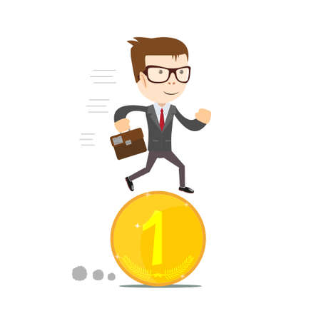 investor: Time for invest, man with gold coin. Time investment concept, finance and money, investor and stock market