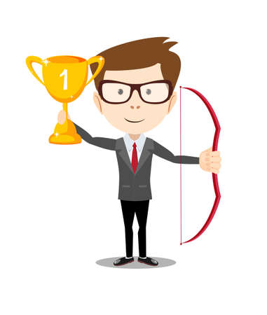 Vector illustration of business man proudly standing , holding up winning trophy and bow. Flat style