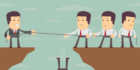 Abstract Business Man Tug of war on a cliff. war of attrition on the top