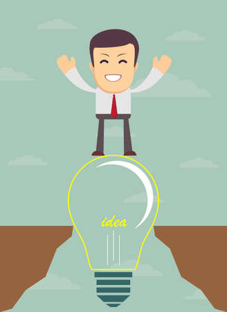 Business man on a bulb cross an abyss - the idea of a businessman helped to bridge the gap. Vector illustration Illustration