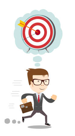 Running Businessman thinking about hitting the target. Stock vector illustration