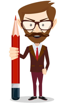 Handsome bearded businessman with pencil . Stock vector illustration