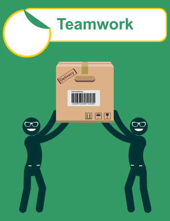 personages: delivery service man with box vector. Teamwork. Stock vector illustration