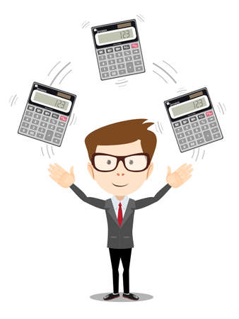 financial advisors: Businessman or manager juggling a calculators in his hands. Profit, finances concept. Vector, flat, illustration Illustration