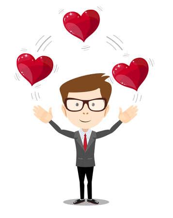 generosa: Business man juggling hearts . Stock vector illustration