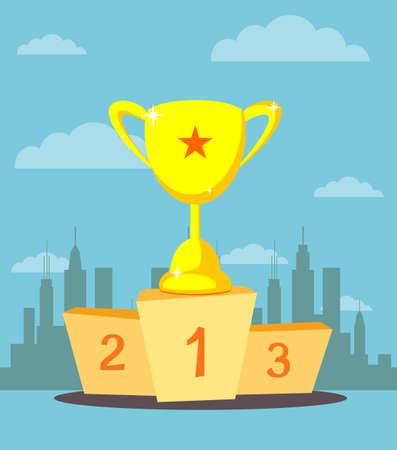 trophy cup, prize goblet on sport winner podium, pedestal vector.