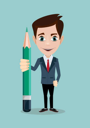 Reporter or writer journalist with pencil. Thinking creative work