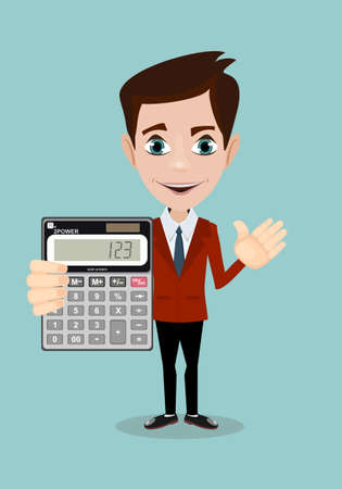 Mathematical Man Holding Calculator With Expression In A Financial Solution Concept Illustration