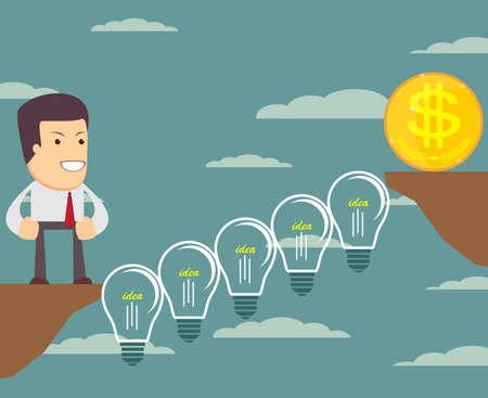 Man on the Lightbulbs Bridge want cross an abyss. Vector illustration .