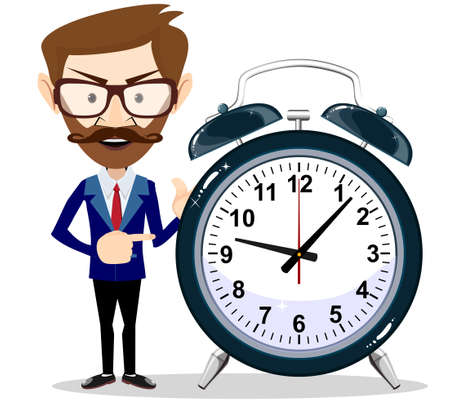 Vector illustration of a smiling cartoon businessman with alarm clocks, symbolizing time management. Illustration