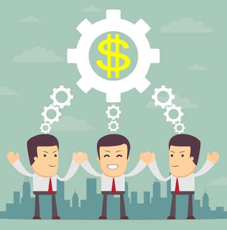 pensamiento estrategico: Hombre con ruedas dentadas, que simboliza el pensamiento estratégico, la creatividad y el trabajo en equipo.