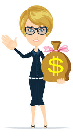 Businesswoman with money bag. Isolated character. Wealth and investment.