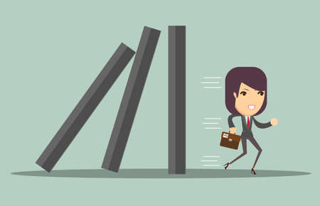Business woman running away from problems, domino effect and problem solving, vector illustration Illustration