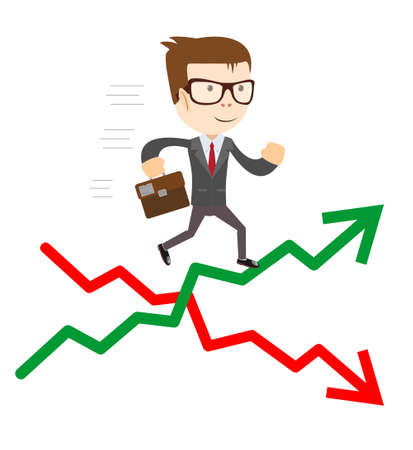 Raise and fall of business indicators. Career lift concept. Illustration
