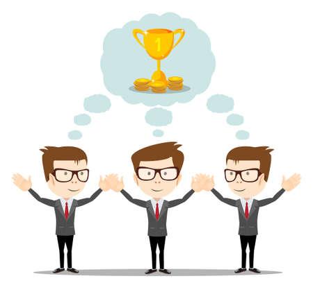 pensamiento estrategico: El hombre de negocios soñando con éxito. sueños cierto-que simboliza el pensamiento estratégico, la creatividad y la ilustración plana teamwork.Vector