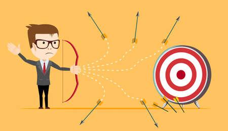 loser: Businessman - loser shooting arrow . Stock vector illustration Illustration