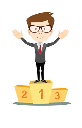 recompense: A businessman proudly standing on the winning to number 1 podium flat style vector cartoon illustration Illustration